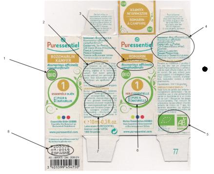 étiquette huile essentielle