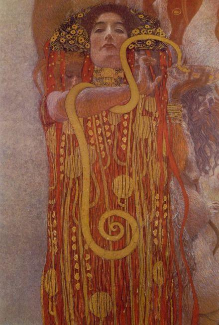 Gustave Klimt, La médecine, 1901. Détail montrant la déesse Hygie.